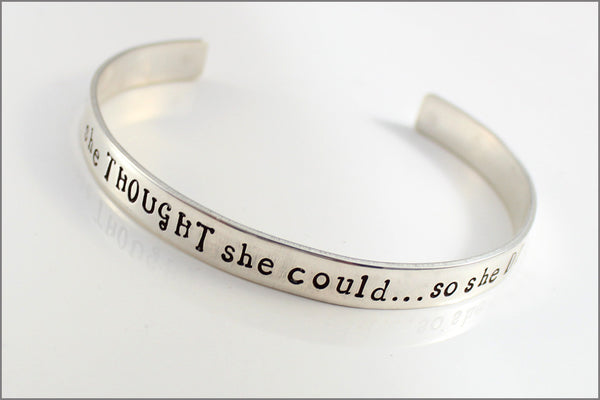 Personalized Sterling Cuff Bracelet - She THOUGHT She Could So She DID - Inside Name Personalization - Graduation or Inspiration Jewelry
