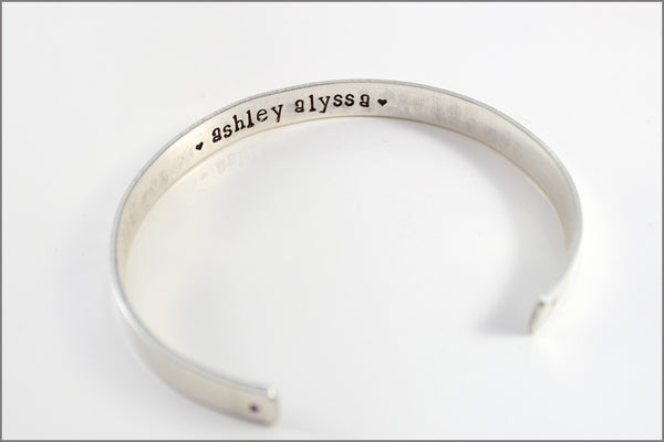 Personalized Sterling Cuff Bracelet | She THOUGHT She Could So She DID, Personalization Inside Cuff, Graduation or Inspiration Jewelry
