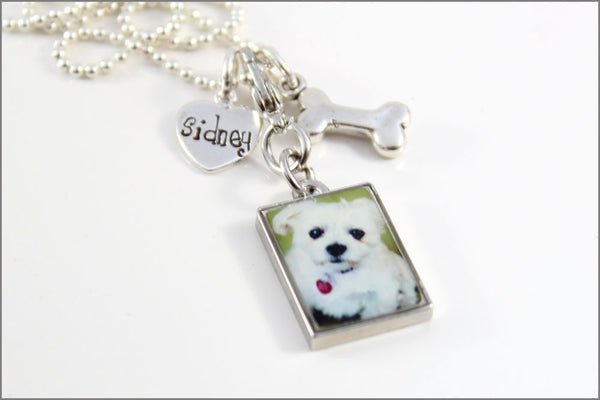 Personalized Pet Remembrance Necklace | Custom Pet Name Charm, Pet Photo Charm, Sterling Silver Dog Bone Charm, Custom Pet Jewelry