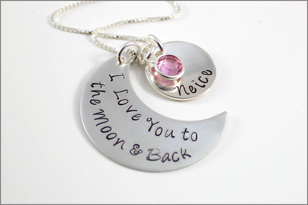 Custom Moon Shape Necklace | I Love You to the Moon & Back Necklace, Personalized Name Pendant, Personalized Mom Jewelry