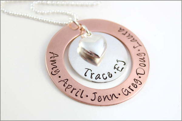 Personalized Nana Necklace | Custom Name Necklace, Puffy Heart Charm, Silver & Copper Jewelry, Special Gifts for Grandma