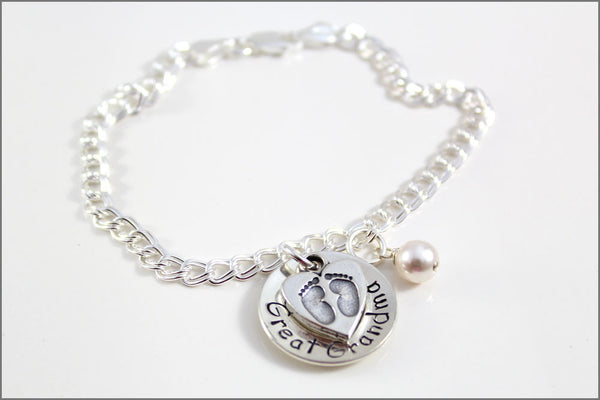 Great Grandma Bracelet with Baby Feet Charm and Pearl | Sterling Silver Charm Bracelet for Grandma