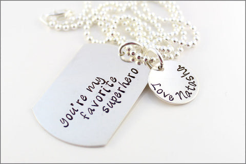 You're My Favorite Superhero Necklace | Sterling Silver Dog Tag Necklace, Custom Dad Necklace, Personalized Gifts for Dad
