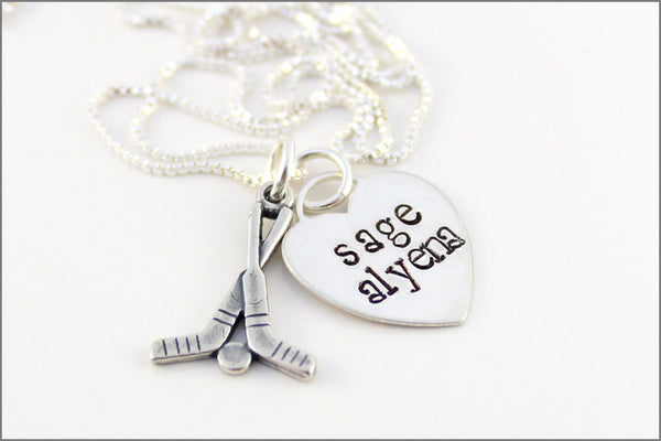 Personalized Hockey Mom Necklace with Names | Sterling Silver Sports Mom Jewelry