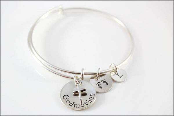 Personalized Bangle Bracelet in Sterling Silver | Custom Godmother Bracelet with Baby Feet Stamp & Initial Charm