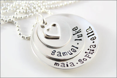Personalized Mom Necklace with Children's Names on Stacked Sterling Silver Discs | Personalized Hand Stamped Mom Necklace