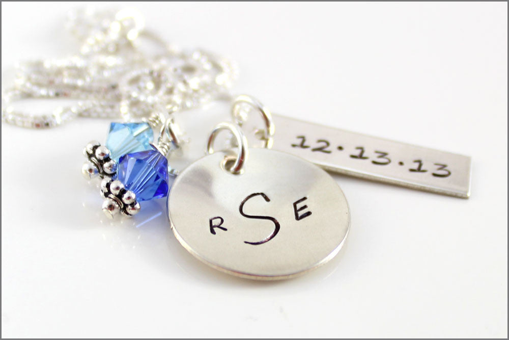Silver Wedding Gift: Personalized Monogram Necklace