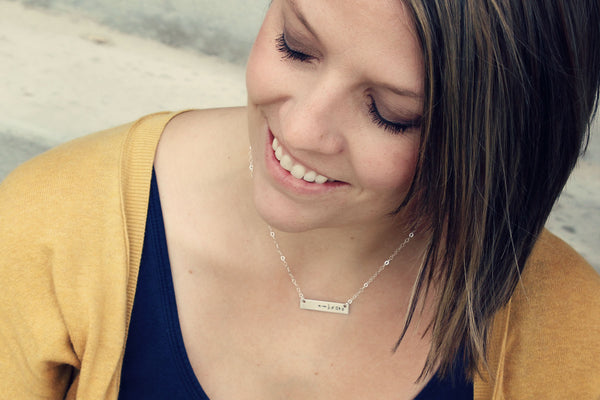 Sterling Silver or Gold Monogram Necklace | Horizontal Sterling Silver or Gold Tag on Fine Cable Chain