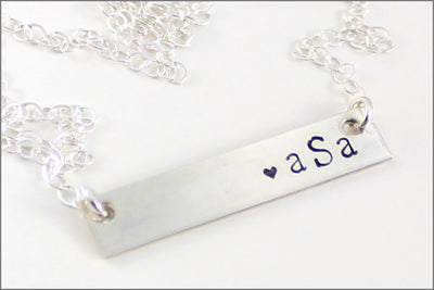 Personalized Monogram Bar Necklace | Sterling Silver, Gold Filled, or Rose Gold