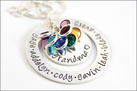 Grandma Necklace with Large Personalized Washer | Names & Birthstones Mother's Day Gift for Nana, Mima, Yia Yia
