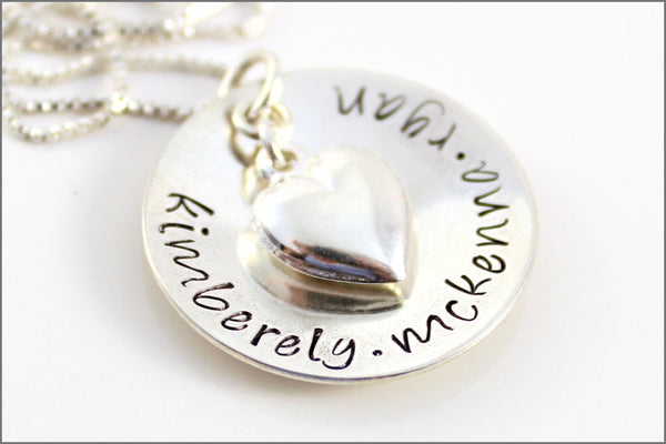 Personalized Mom Necklace with Puffy Heart in Sterling Silver | Family Names Hand Stamped Jewelry