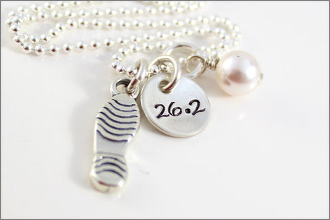 26.2 Marathon Runner Necklace in Sterling Silver with Shoe Charm and Pearl Dangle | Personalizes Sports Jewelry
