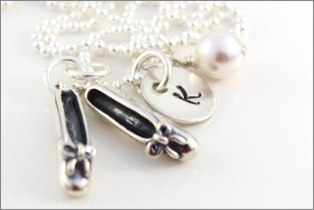Personalized Ballet Necklace | Initial Charm