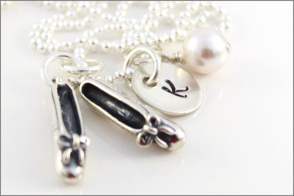 Personalized Ballet Necklace with Initial and Ballet Slippers Charm | Sterling Silver Initial Necklace