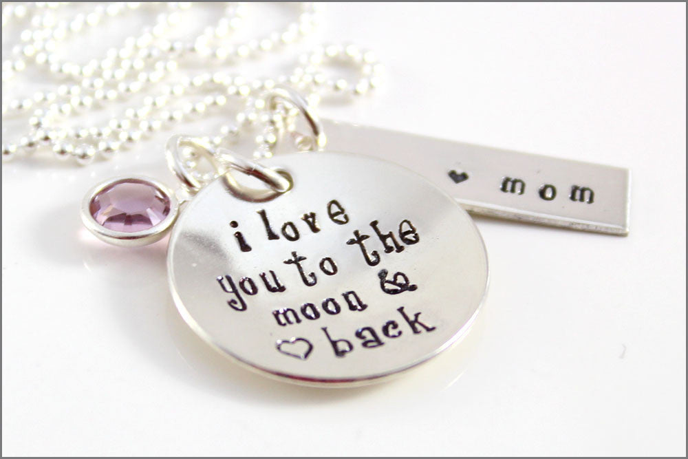"Personalized Mom Necklace | Sterling Silver ""I Love You to the Moon & Back"" Necklace, Unique Gifts for Women, Custom Mom Jewelry"