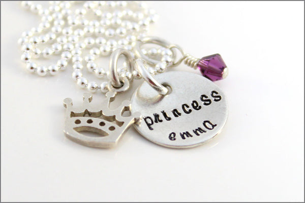 Personalized Princess Name Necklace | Silver Crown Charm, Gift for Young Girl, Custom Name Necklace, Princess Crown Necklace