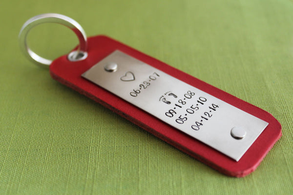Personalized Red Leather Keychain with Custom Dates | Hand Stamped Accessories Save the Dates