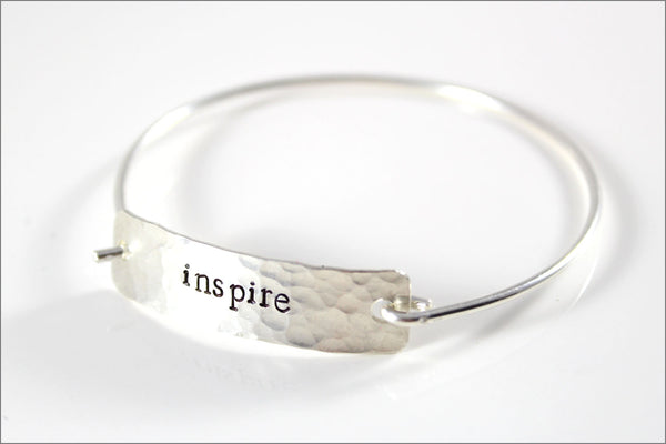 Custom Inspiration Bracelet | Sterling Silver Word Bracelet, Women's Silver Cuff Bracelet, Custom Gifts for Women, Small Gifts for Her