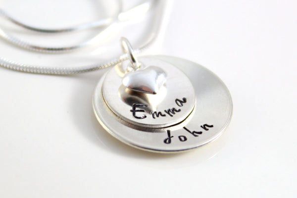 Sterling Silver Name Jewelry | Personalized Two Name Necklace, Puffy Heart Charm, Custom Mom Necklace, Unique Gifts for Mom