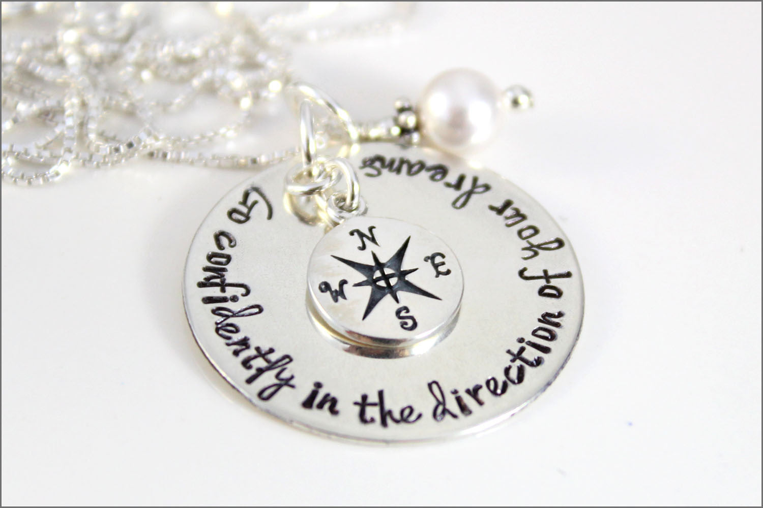 Inspirational Graduation Gift | Go Confidently in the Direction of Your Dreams, Sterling Silver Compass Necklace, Graduation Necklace