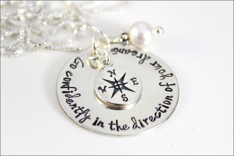 Inspirational Graduation Gift | Go Confidently in the Direction of Your Dreams Necklace in Sterling Silver