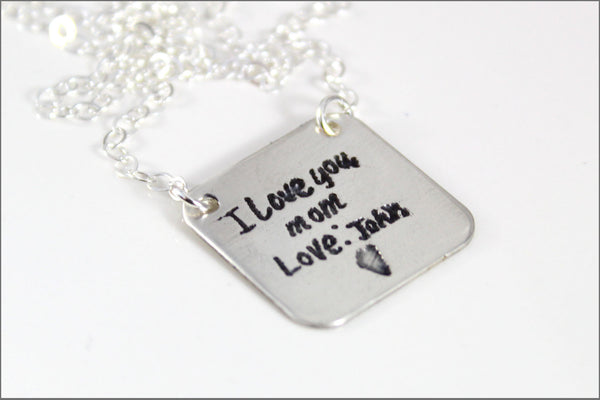 Custom Children's Handwriting Necklace | Actual Kid's Handwriting, Sterling Silver Etched Jewelry, Personalize This Necklace