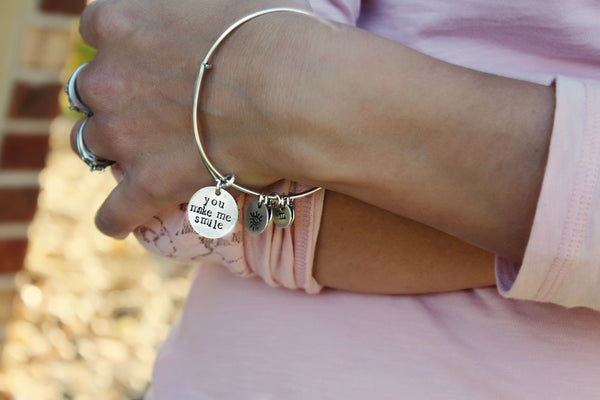 Handmade Bangle Bracelet in Sterling Silver | Your First Breath Took Mine Away with Design Stamp & 4 Initial Charms
