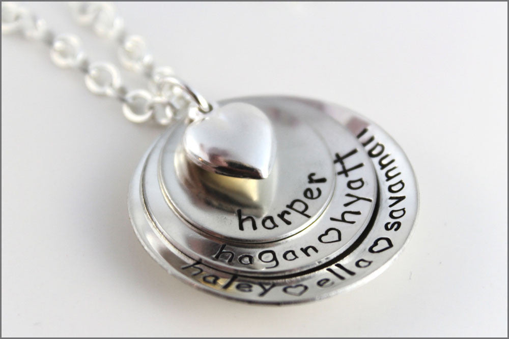 Personalized Mommy Necklace | Puffy Heart Charm, Sterling Silver Name Necklace, Hand Stamped Jewelry, Gifts for Mom