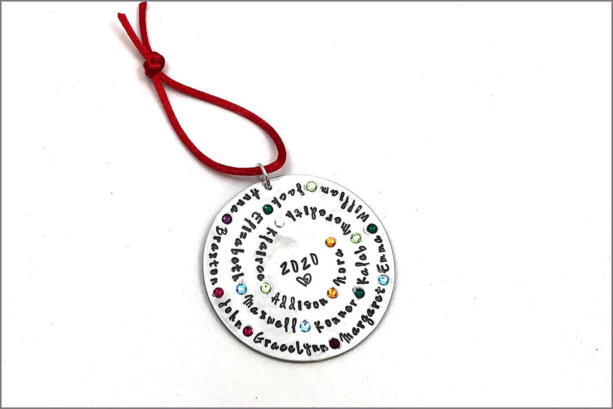 Christmas Ornament Spiral Disc | Personalized with Names, Birthstones & Year