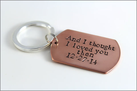 And I Thought I Loved You Then | Copper Keychain with Anniversary Date