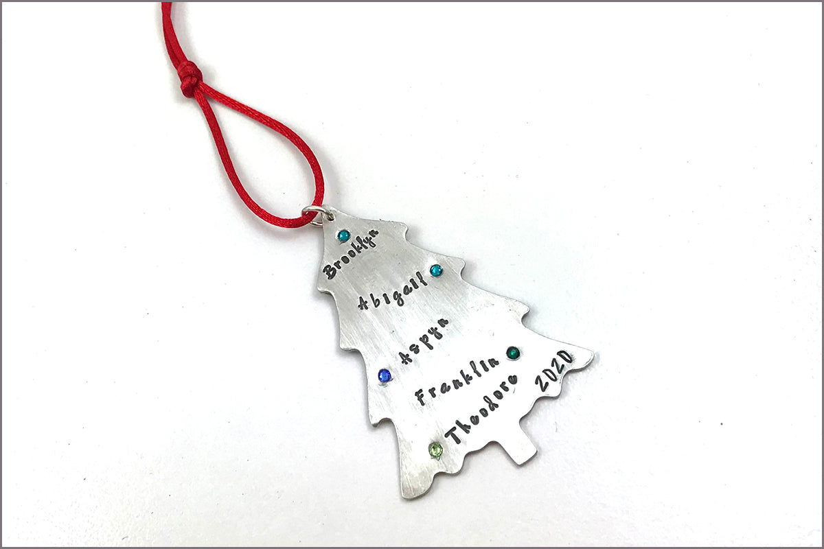 Christmas Tree Ornament | Personalized with Names, Birthstones & Year