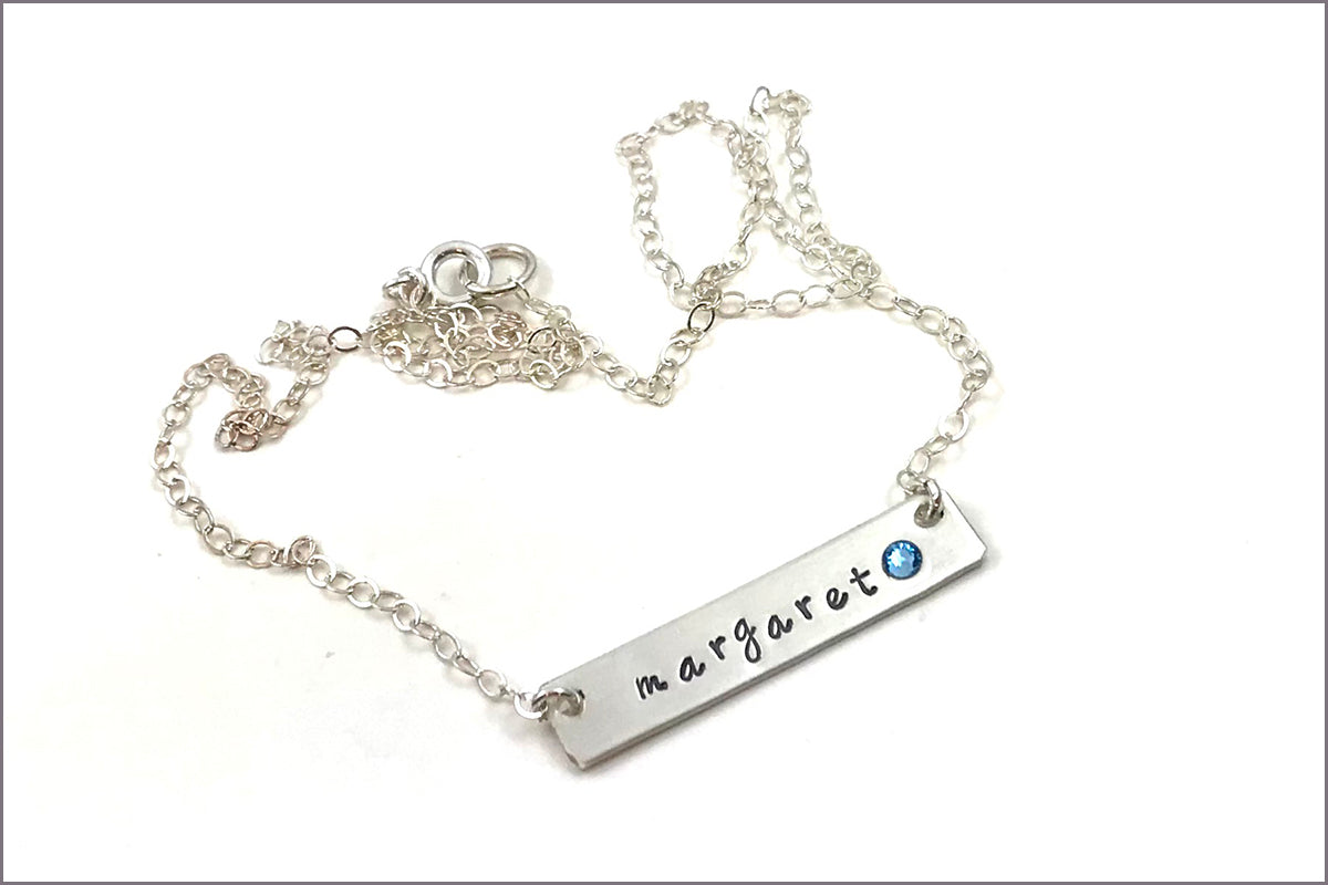 One Name Bar Necklace with Birthstone