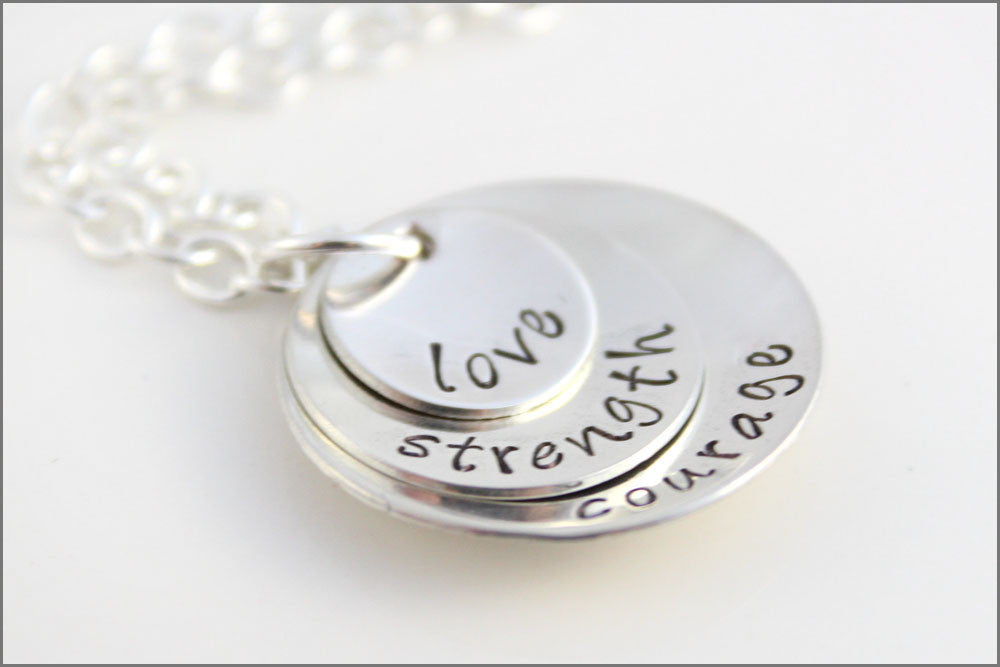 Custom Sterling Silver Stacked Necklace | Love Strength & Courage, Inspiration Jewelry for Women, Special Gifts for Friend with Cancer