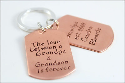 Personalized Copper Dog Tag Keychain | Custom Dog Tags, Gift for Grandpa, Custom Words Names & Dates Keychain, Gift for Dad
