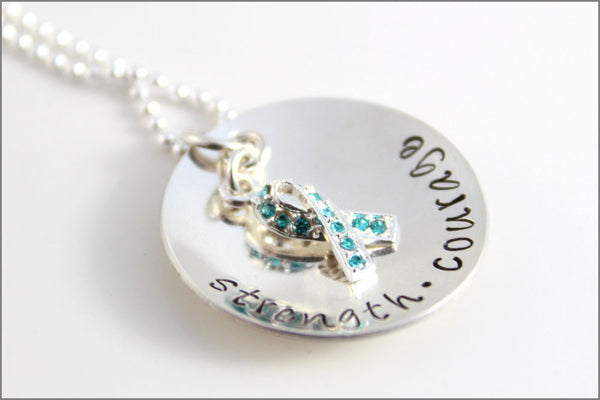 Strength & Courage Teal Ribbon Awareness Necklace