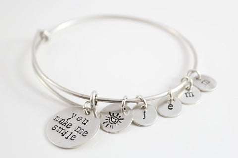 Custom Grandma Bangle Bracelet in Sterling Silver | You Make Me Smile with 4 Initial Charms