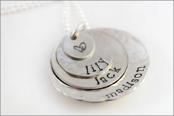 Personalized Stacked Mommy Necklace with 3 Names & Design Stamp | Three Sterling Silver Name Discs Hand Stamped Jewelry