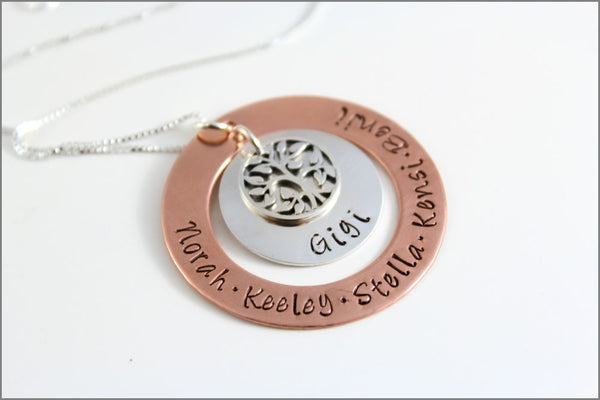Grandma Necklace with Tree of Life Showing Many Names | Sterling Silver & Copper Hand Stamped Jewelry