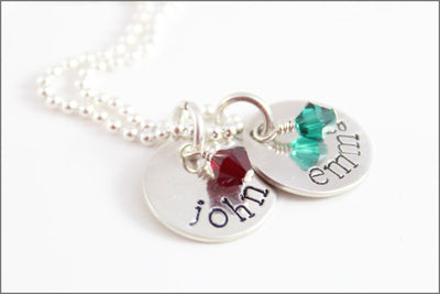 Two Disc Sterling Silver Necklace with Birthstones