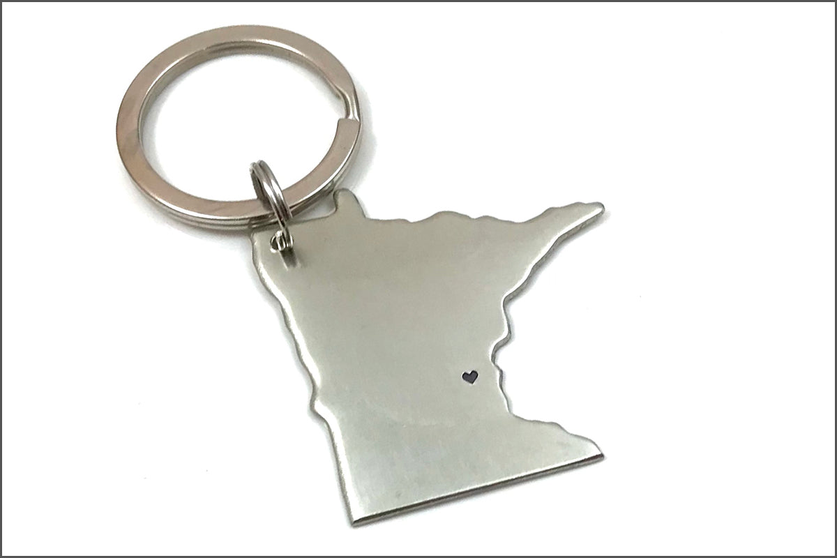 I Heart Minnesota Keychain | Unique Gift for Her, Minnesota Key Chain, Custom State Keychain, Gift Exchange Ideas