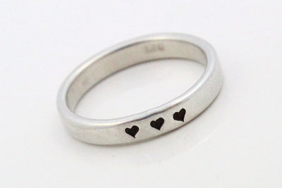 Stacking Silver Skinny Ring | Heart Stamped Skinny Ring, Stackable Rings, Custom Silver Ring, Personalized Skinny Ring