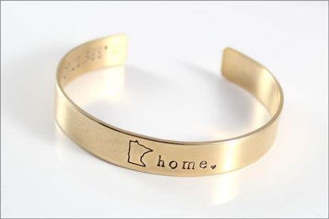 Custom Home State Cuff Bracelet | Inside Coordinates Message, Personalized Nu Gold Jewelry, Small Gifts for Her, Minnesota Jewelry
