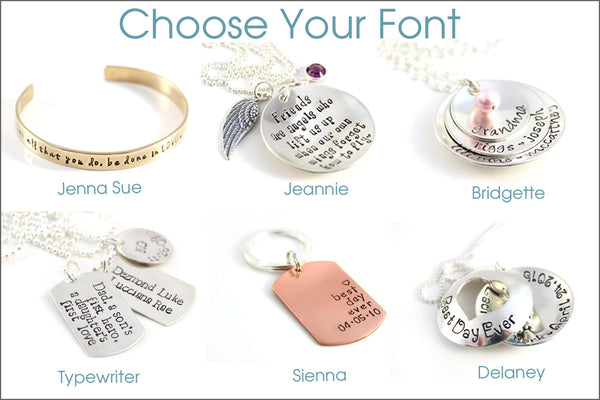Little Girls Necklace | Personalized Name Necklace with Design & Birthstone, Sterling Silver Hand Stamped Girls Jewelry