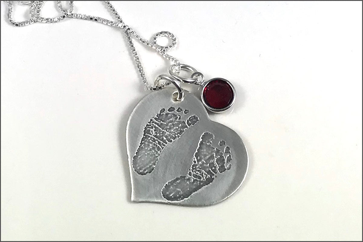 Baby Footprints Heart Necklace with Birthstone | Sterling Silver Etched Jewelry
