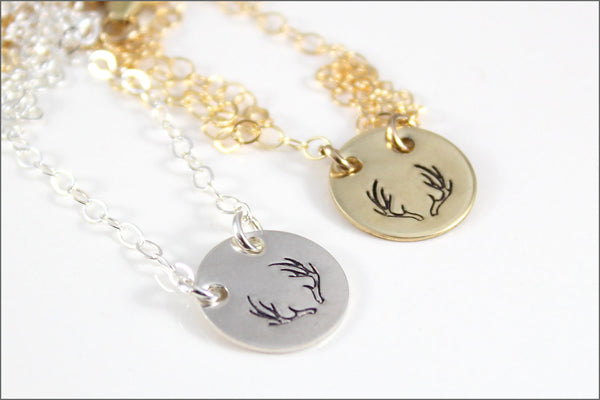 READY TO SHIP // Gold or Silver Deer Antler Necklace | Nu Gold or Sterling Silver Disc on Fine Cable Chain