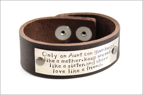 Customized Leather Bracelet | Awesome Aunt Quote | Hand Stamped Bracelet with Custom Names | Perfect Gift for Aunt