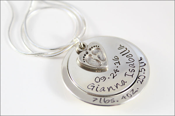 New Mom Necklace | Name Birthdate Height & Weight, Baby Feet Charm, Sterling Silver Name Necklace, Baby Name Necklace, Gifts for New Mom