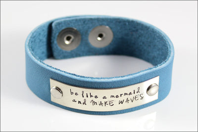 Hand Made Leather Bracelet Customized with Your Choice of Names, Dates, & Words | Be Like A Mermaid and Make Waves