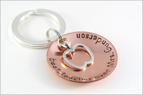 Personalized Teacher Gift | Sterling Silver Apple Charm, Best Teacher Ever, Custom Copper Keychain, Unique Gifts for Teachers