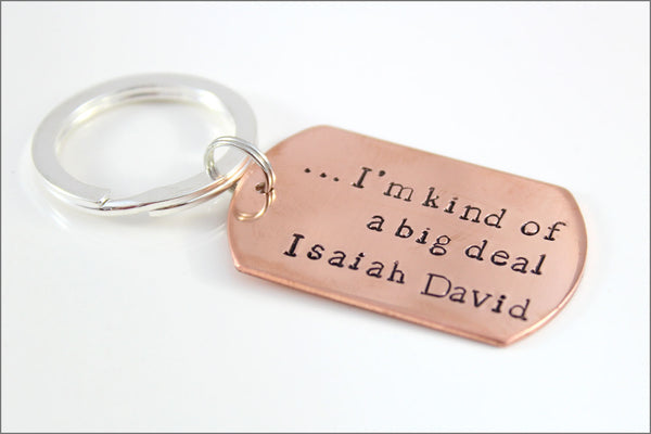 Custom New Dad Copper Keychain with Name | I'm Kind of a Big Deal Personalized Men's Accessories